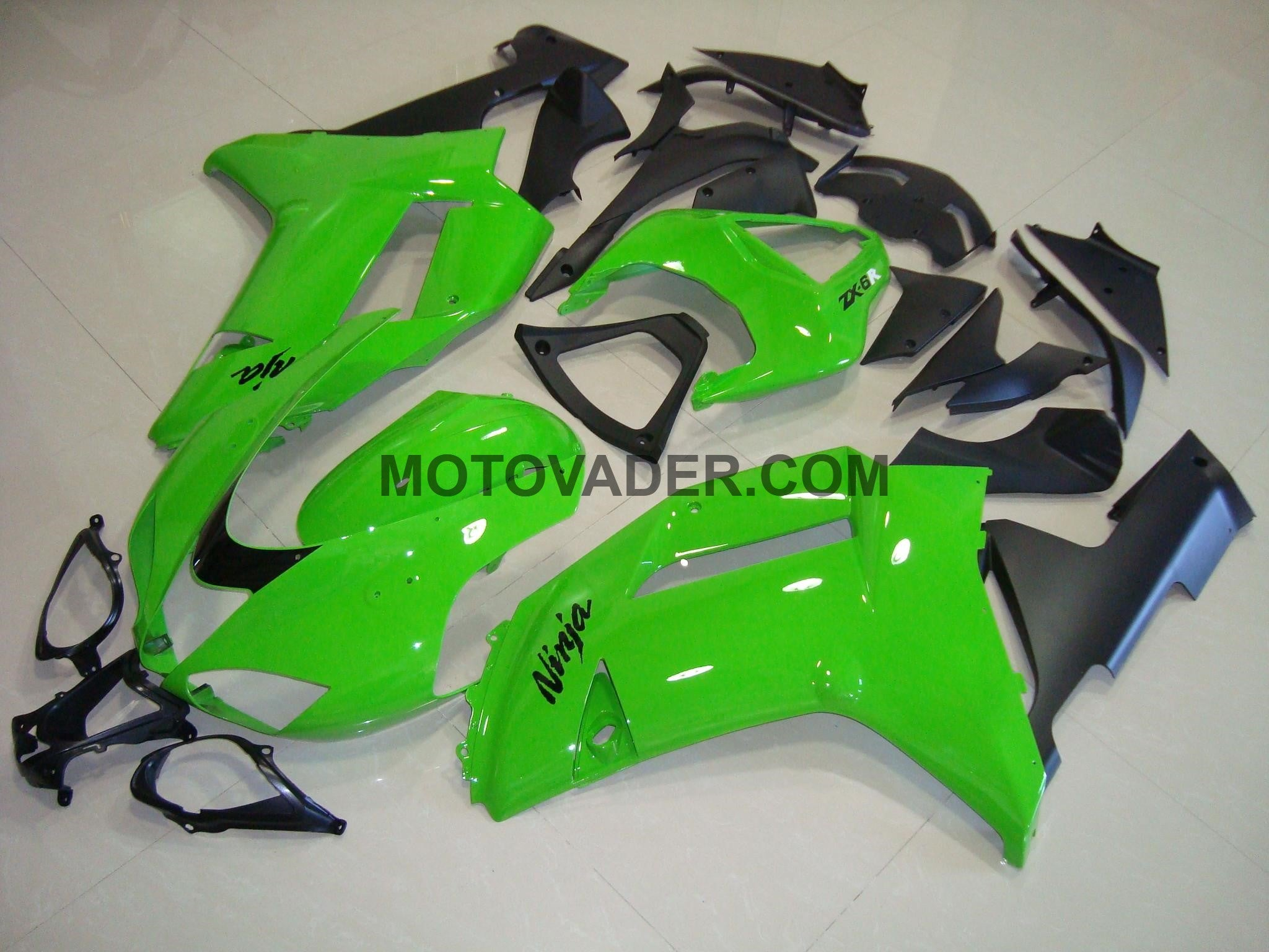 Kawasaki ZX-6R 2007-2008 Green & Matt Black Fairing
