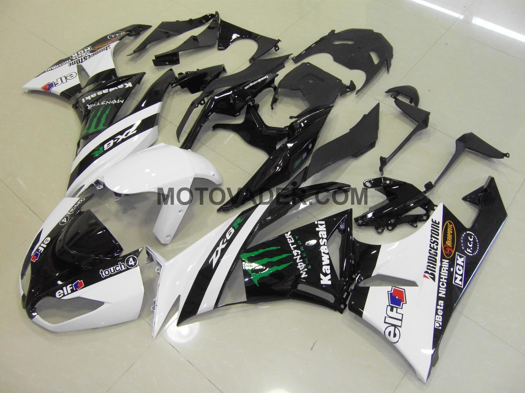 Kawasaki ZX-6R 2009-2012 White Monster Fairing
