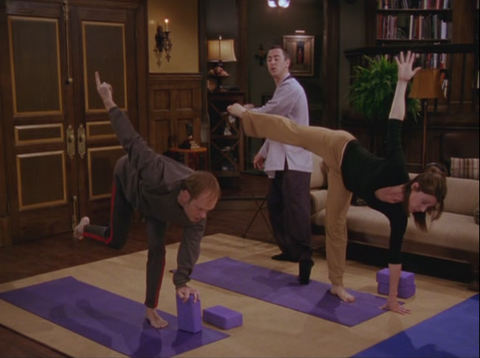 Niles and Daphney doing Yoga