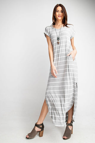 Mood and Melody  Stripe Maxi Dress Grey Preorder Limited Quantities