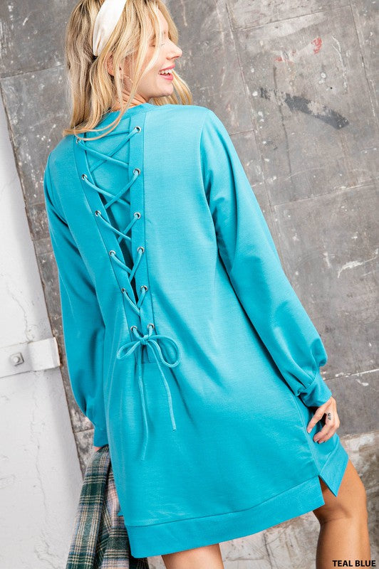 TERRY SWEATER DRESS WITH LACE UP BACK - Made in US