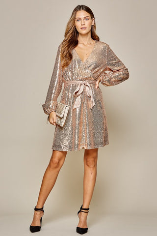 CHAMPAGNE MAMI WRAP FRONT SEQUIN DRESS