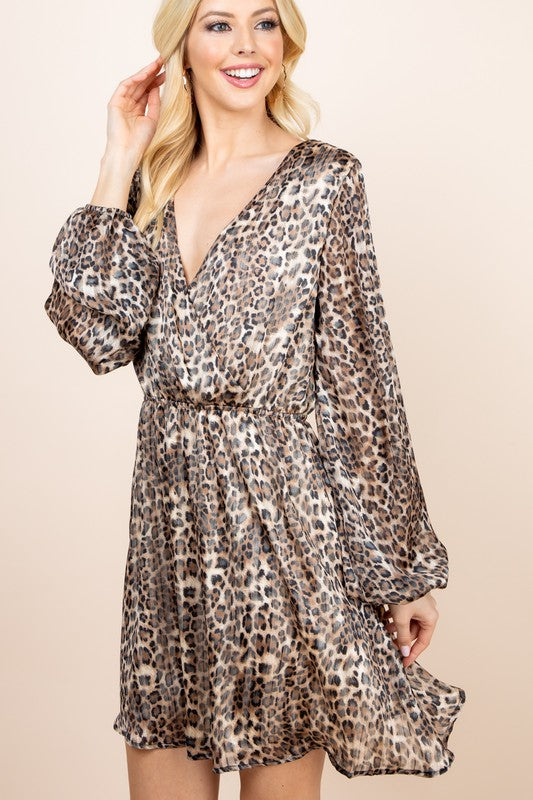 Planned Perfection Chiffon Brown Snake Print Dress