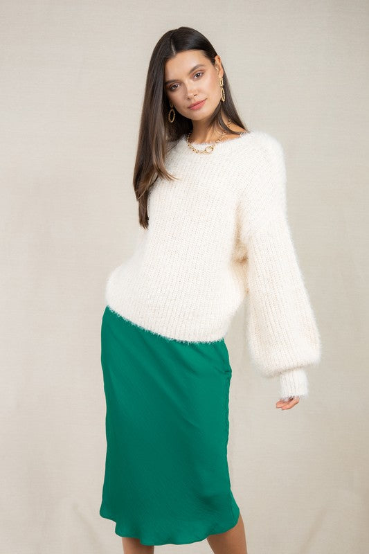 Stroll At Dusk Balloon Sleeve  Sweater