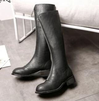Vernice Leather Zip-Front Boots