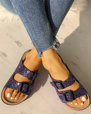 Casual Stroll Sequin Double Buckle Flats