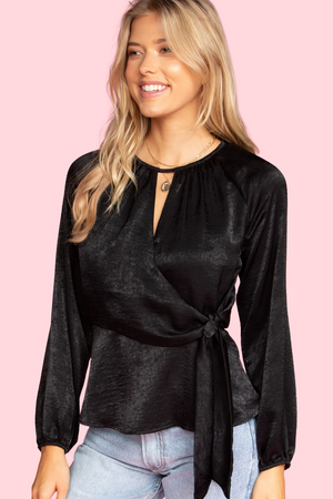 Conflicted Feelings Long Sleeve Wrap Blouse