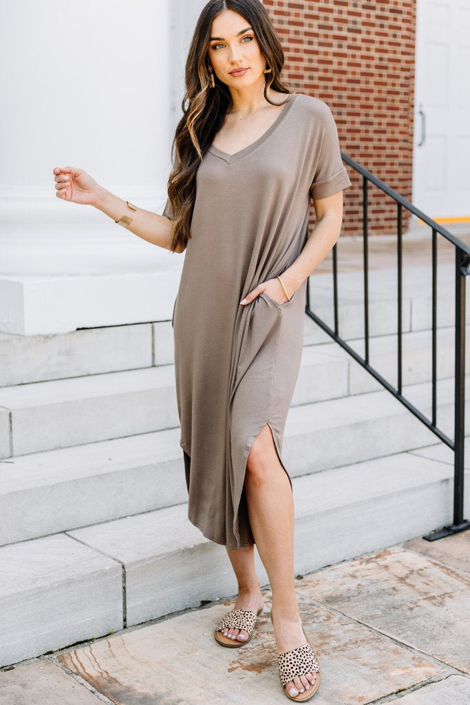 Speak Up - V neck T shirt Midi Dress