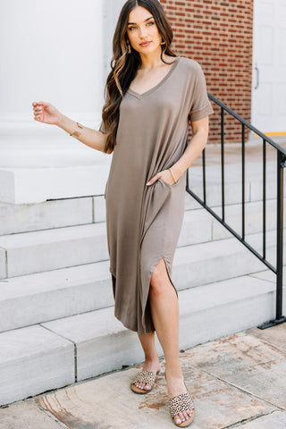 Catch My Drift V neck T shirt Midi Dress