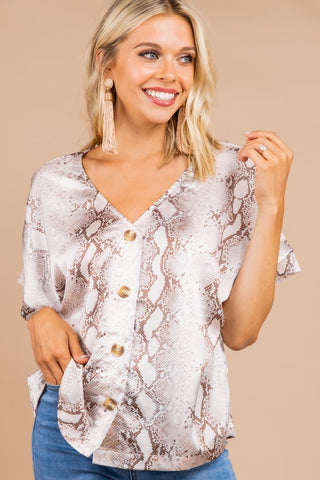 Once Bitten Snake Print Top