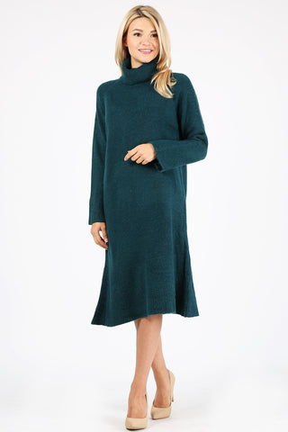 Washable Wool Turtleneck Sweater Dress