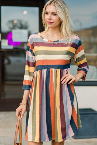 See You Together Rust Orange Striped Dress
