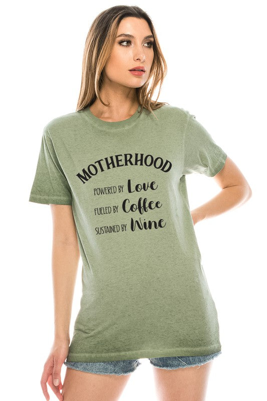 Motherhood Powered by Love Fueled by Coffee And Wine T-Shirt