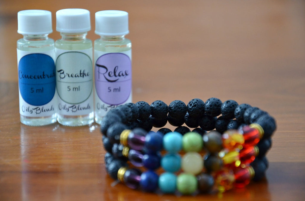 Multi-Colored Lava Stone Diffuser Bracelets and Essential Oil Set