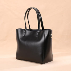 Classic Structured Leather Tote Handbag