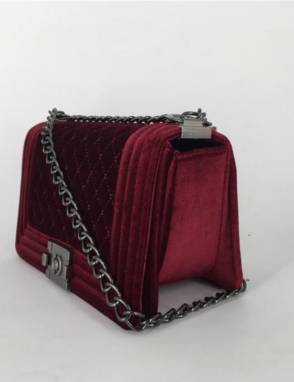 TASHA : Quilted Velvet Signature Chain Crossbody  Handbag
