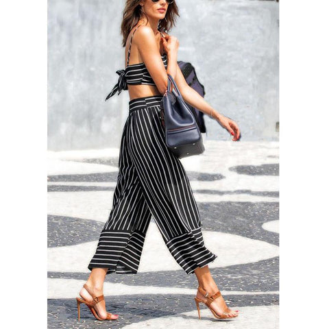 TILDA  STRIPED CULOTTE PANTS - RishWish
