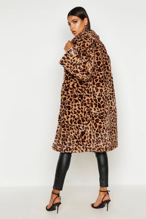 BRADSHAW Leopard  Faux Fur Long Coat 🐆