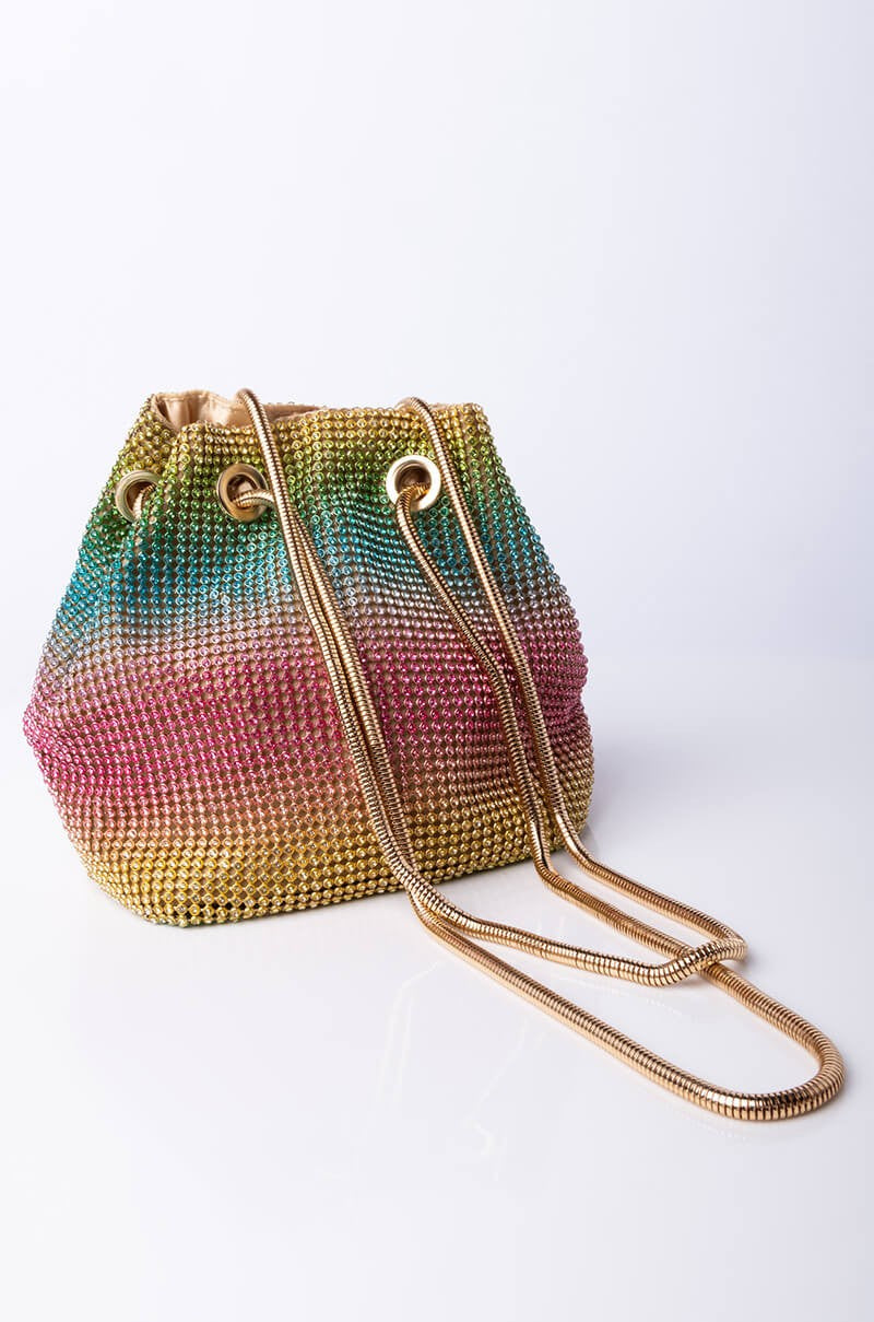 Heiress Rainbow Crystal Full-Beaded Clutch Bag