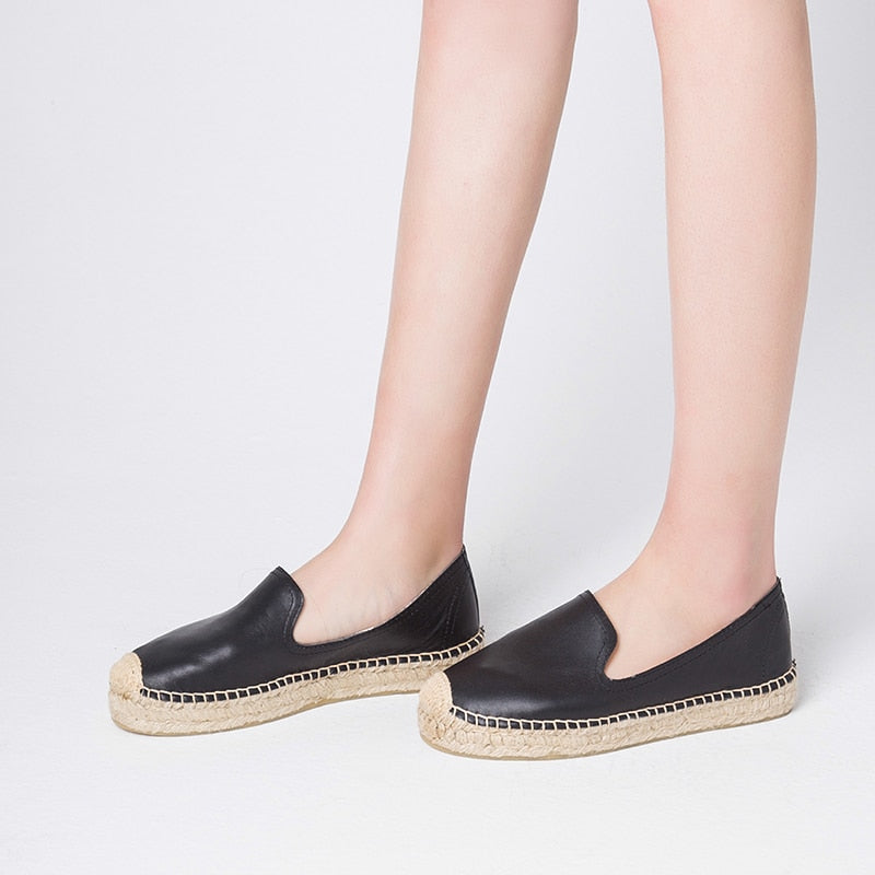 Genuine Leather  Gold/Black/Silver Color Espadrilles