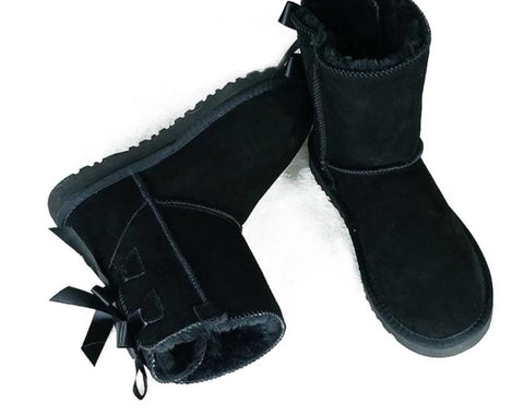 Bailey Bow Genuine Leather Ankle Boots For Women
