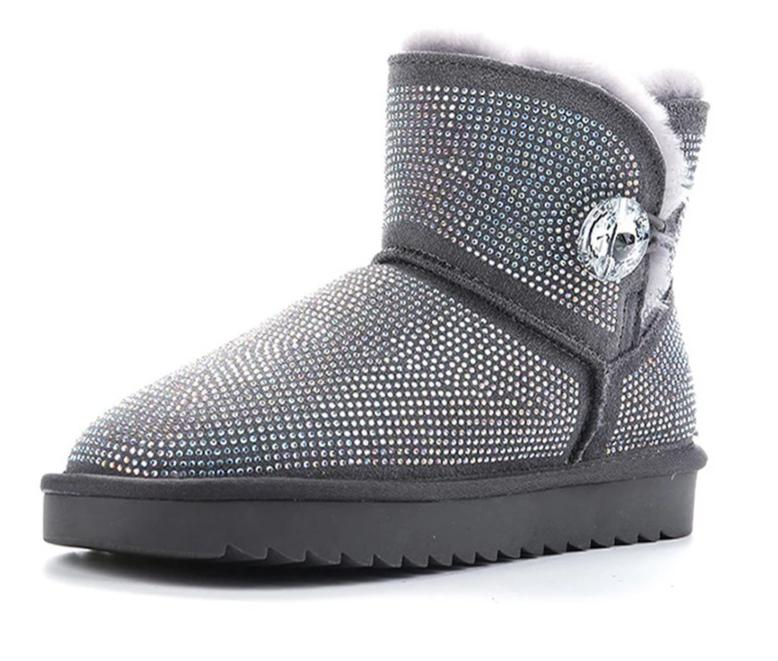 Aqua Women's Leather Rhinestone Snow Boots