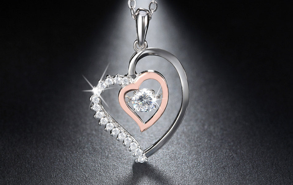 Double Heart  925 Sterling Silver Pendant Necklace -