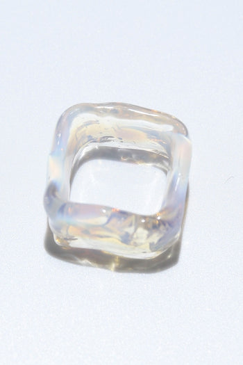Ripple ring square opal