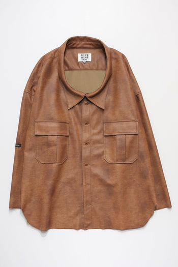 SEMI SUEDE OFF NECK SHIRT