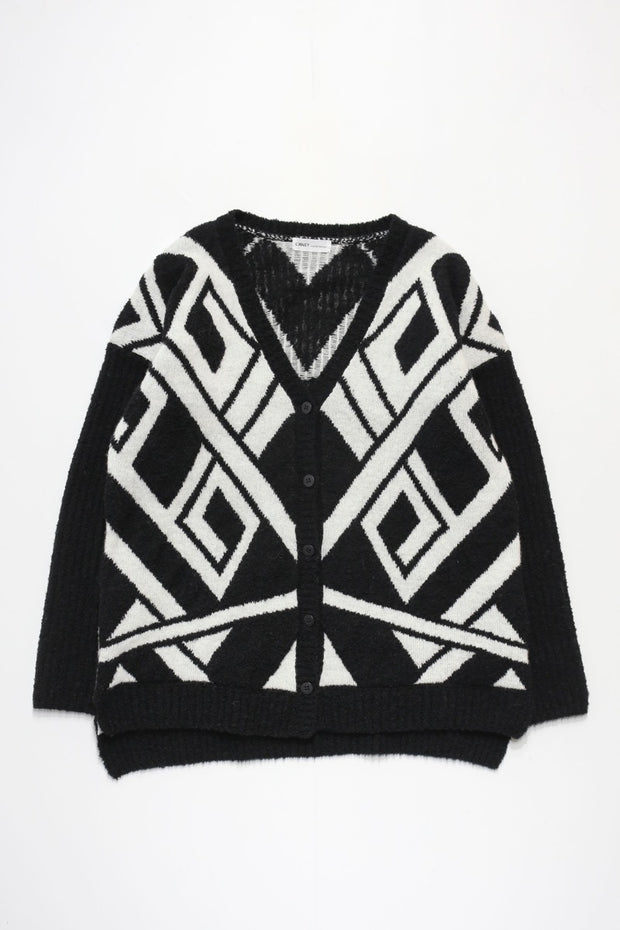 CARDIGAN - White × Black