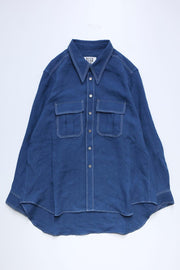 LINEN HERRINGBONE DOUBLE STITCH SHIRT