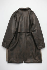 VINTAGE WASH VEGAN LETHER PADDING COAT