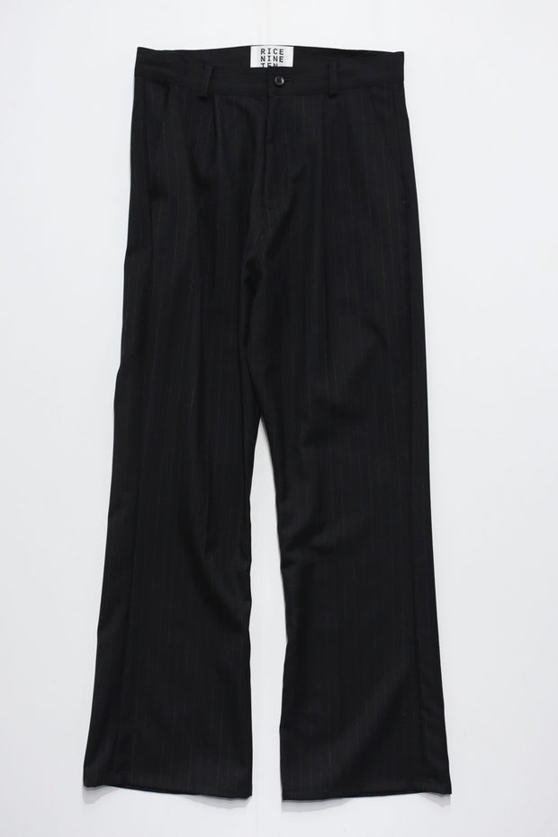 STRIPE SIDE ZIP FLARE TROUSERS