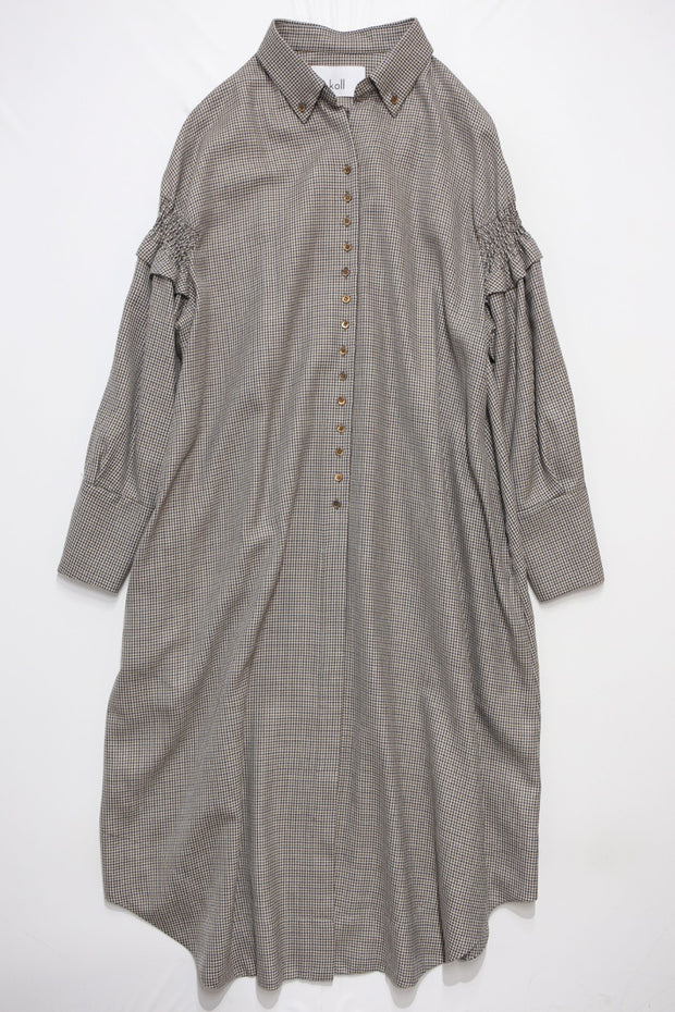 hound's tooth shirt dress BR