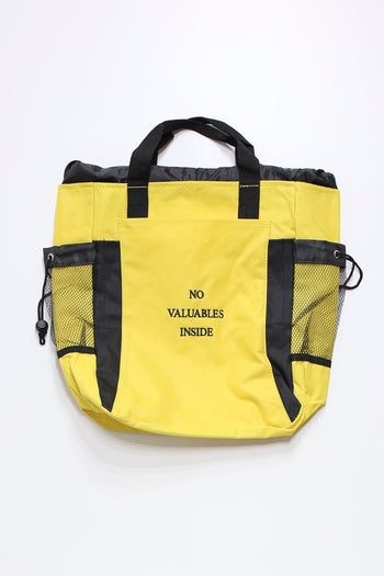 NO VALUABLES INSIDE BACKPACK TOTE (YELLOW)