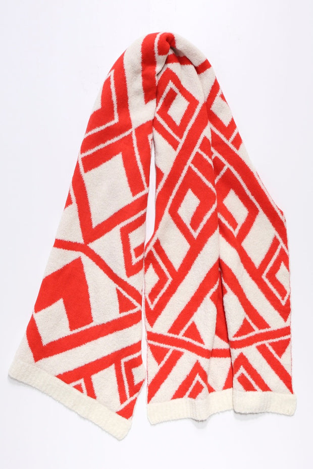 Giometric wide stole Red