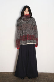 Big loop colorful Pullover スヌード付きredish