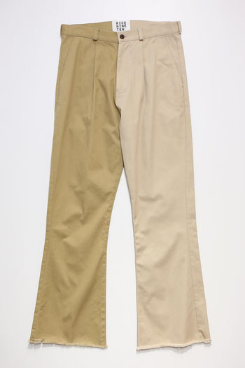 HALF AND HALF BOOTSCUT CHINO PANTS
