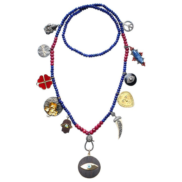 Signature Lapis and Ruby 'Birthday' Necklace with Ebony Evil Eye Pendant