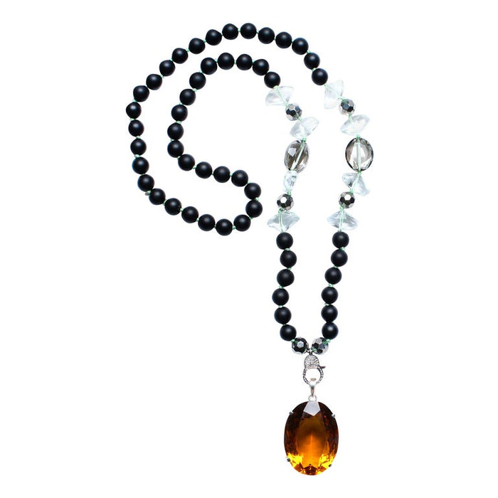 Onyx Crystal Diamond Citrine Pendant Beaded Necklace