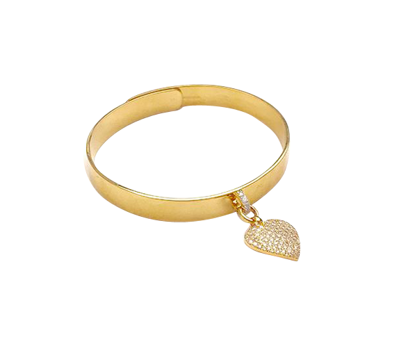 14k Gold Bangle with Diamond Heart