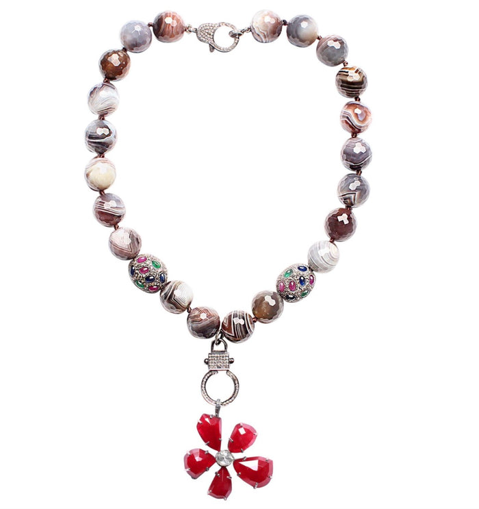 Botswana Agate Sapphire Ruby Emerald Agate Diamond Flower Pendant Necklace