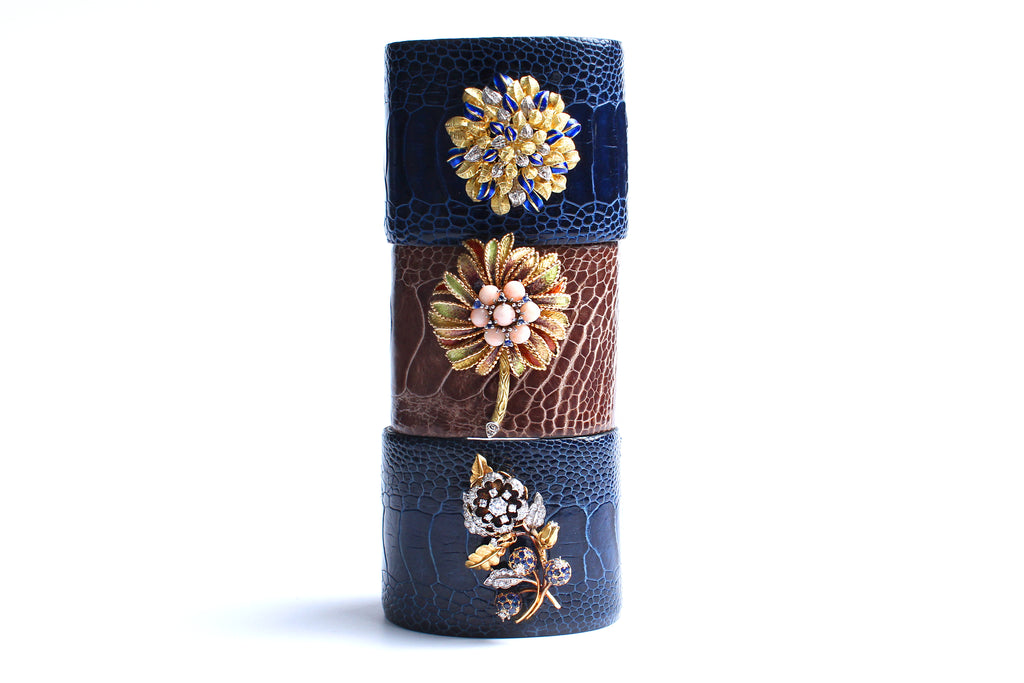 Blue Crocodile 14 Karat Gold Enamel Flower Bush Cuff Bracelet
