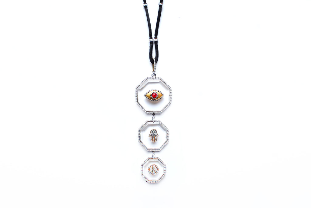 Signature 3-Tier Crystal Ruby Eye Pendant on Diamond and Suede Cord