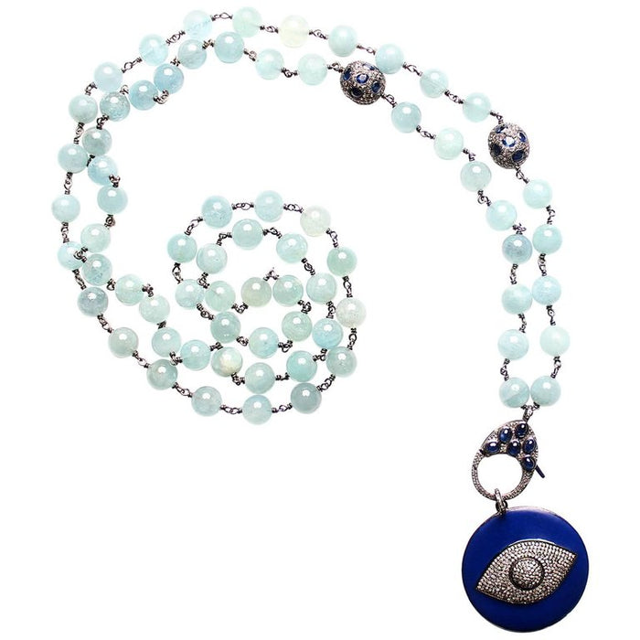 Aquamarine Beaded Necklace Royal Blue Enamel and Diamond Eye Necklace