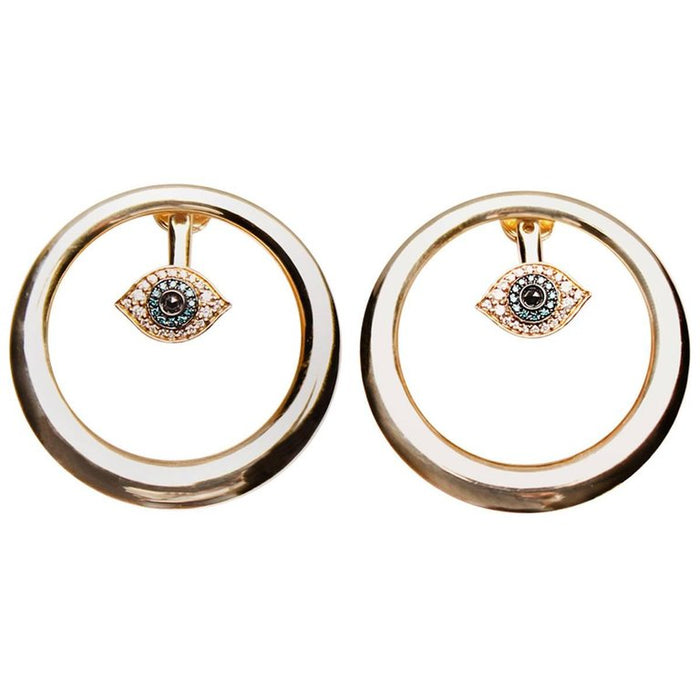 Round 14k Gold Diamond Eye Earrings