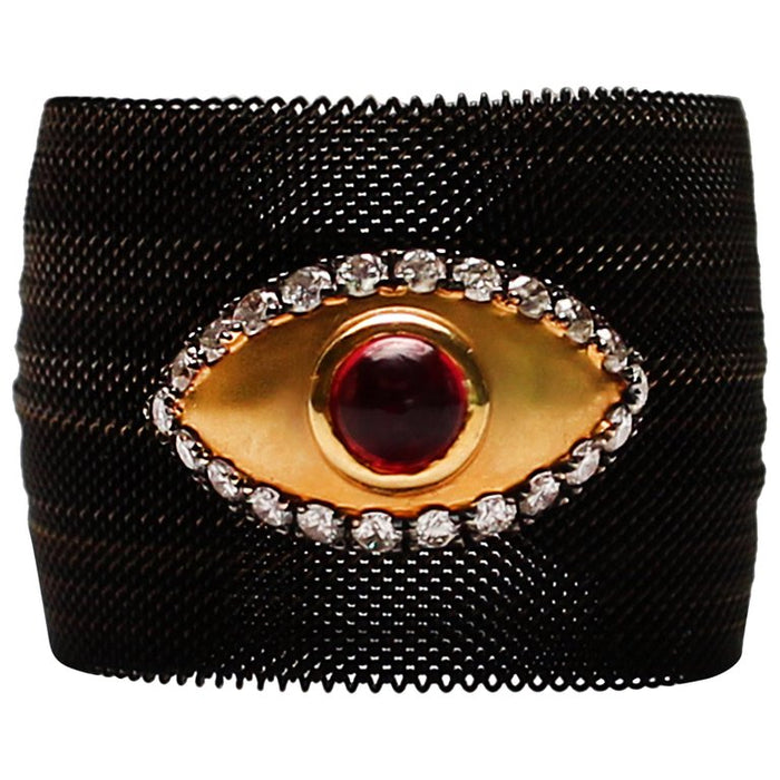 Black Mesh Ruby Evil Eye Ring
