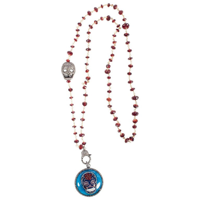 Garnet, Diamond, Enamel, Silver Skull Beaded Necklace