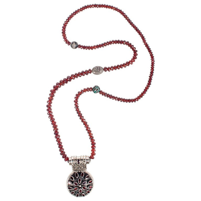 Garnet, Emerald, Diamond, Ruby, Silver Beaded Pendant Necklace