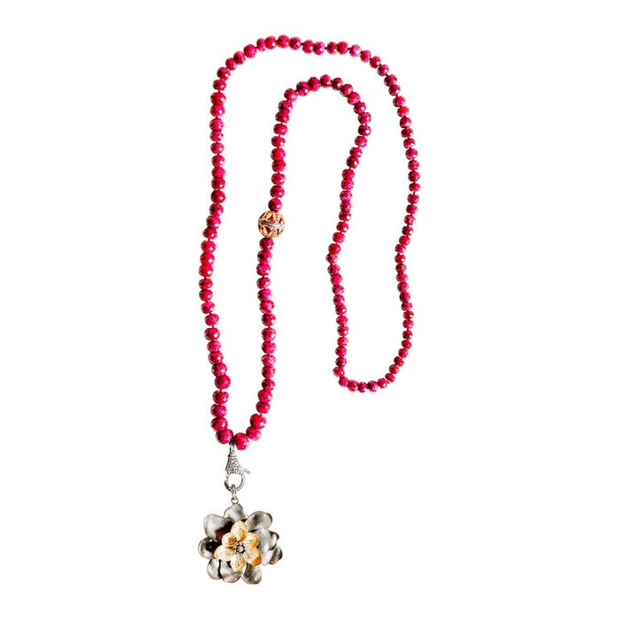 Ruby Two Tone Flower Beaded Necklace